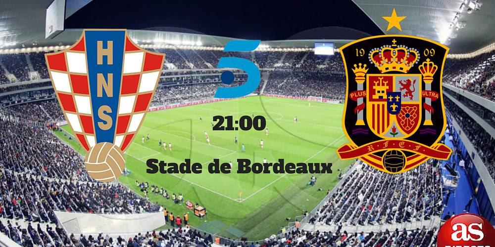Croacia vs España en directo y en vivo online, grupo D de la Eurocopa 2016 Francia, martes, 21/06/2016 a las 21.00 horas.
