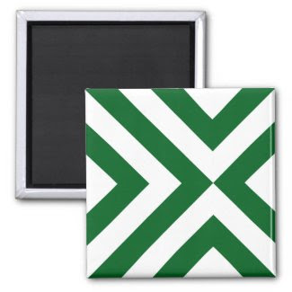 Green and White Chevrons Magnet