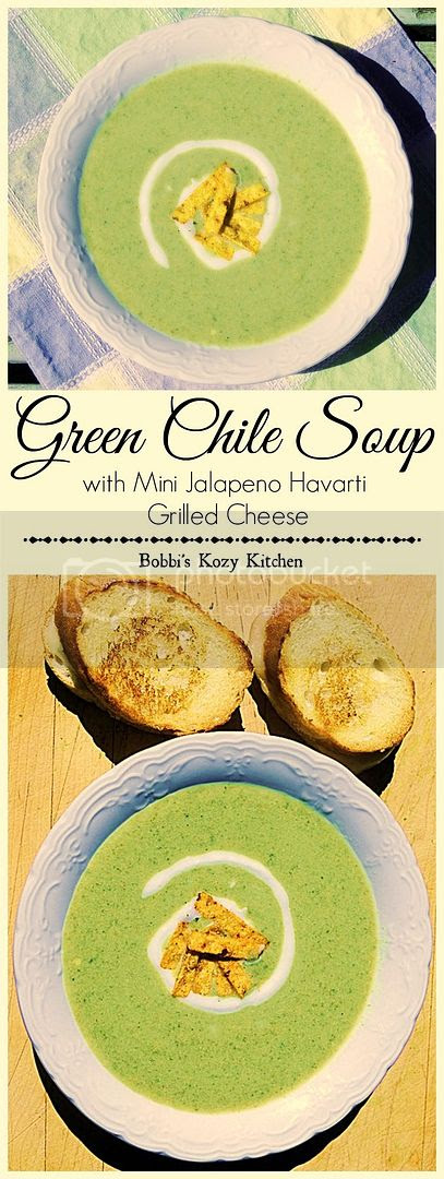 A wonderful creamy soup, with the heat from fire roasted Hatch chiles, is the perfect lunch when you pair it with Mini Jalapeno Havarti Grilled Cheese Sandwiches. Creamy, spicy heaven! from www.bobbiskozykitchen.com