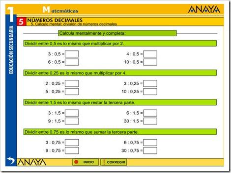 Cálculo mental divisiones con decimales