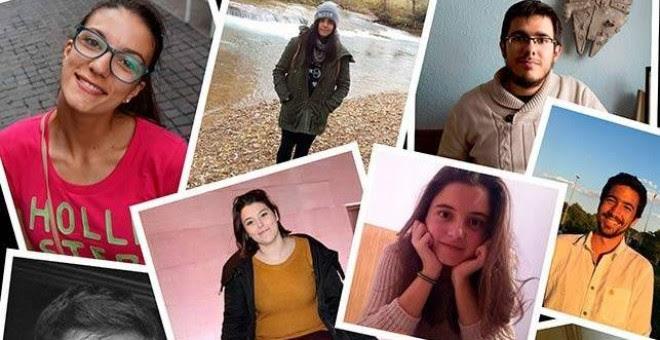 Los nueve estudiantes que recurren al crowfunding para financiar sus estudios universitarios. Foto: Facultad Invisible