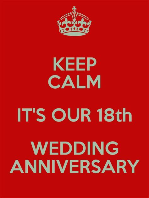 KEEP CALM IT'S OUR 18th WEDDING ANNIVERSARY Poster   JAMES