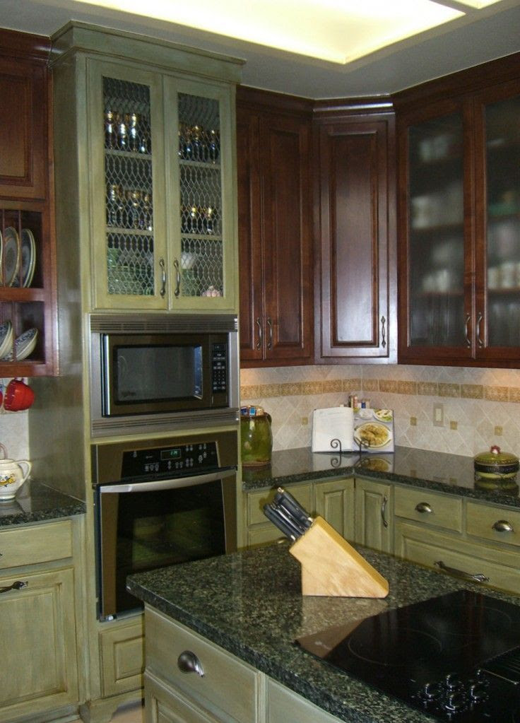 Green Glazed Kitchen Cabinets   Kitchen Colors   Pinterest