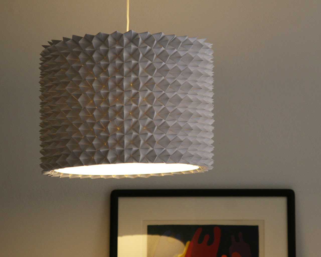 Textured lampshade idea for a pendant lamp in grey