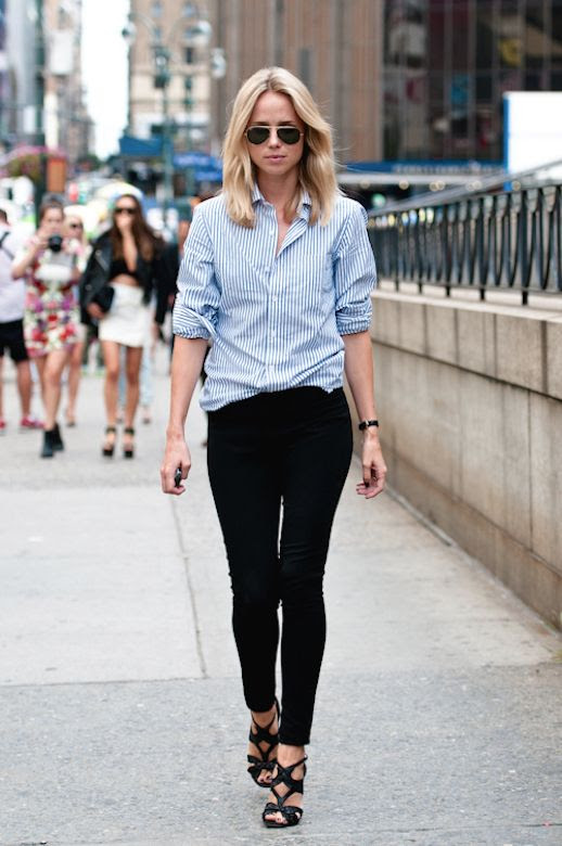 Le Fashion Blog 25 Ways To Wear A Striped Button Down Shirt Cage Sandals Elin Kling Via Silhouetted Skyline Black Pants