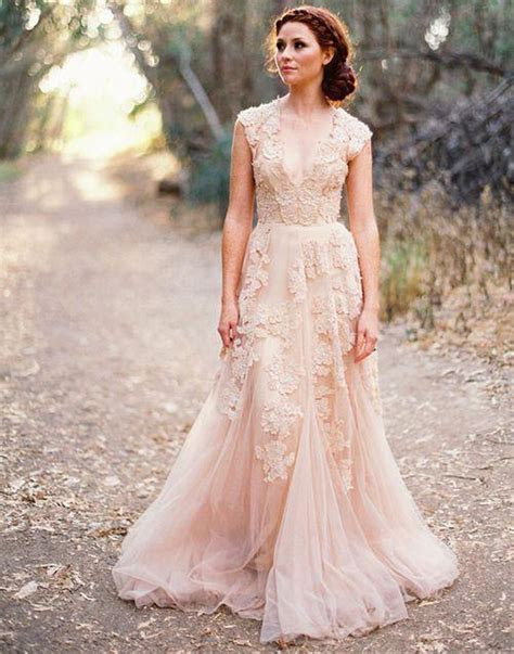 Vestidos De Novia Deep V Cap Sleeves Pink Wedding Dresses