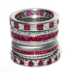 Ruby & Diamond Stack Rings at London Jewelers!