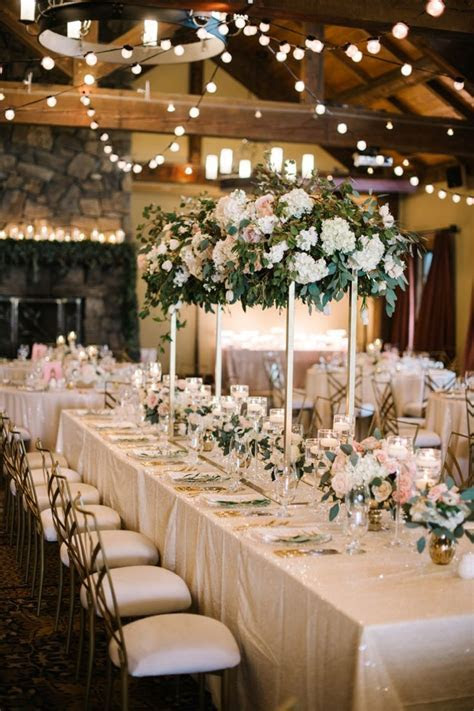 Elegant Blush and Champagne Wedding   Wedding Centerpieces