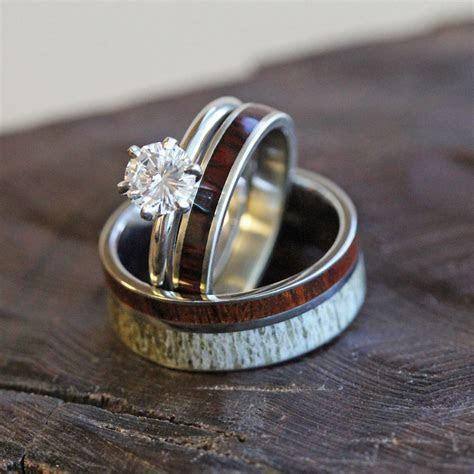 Unique Deer Antler Wedding Ring Set Women's Diamond And