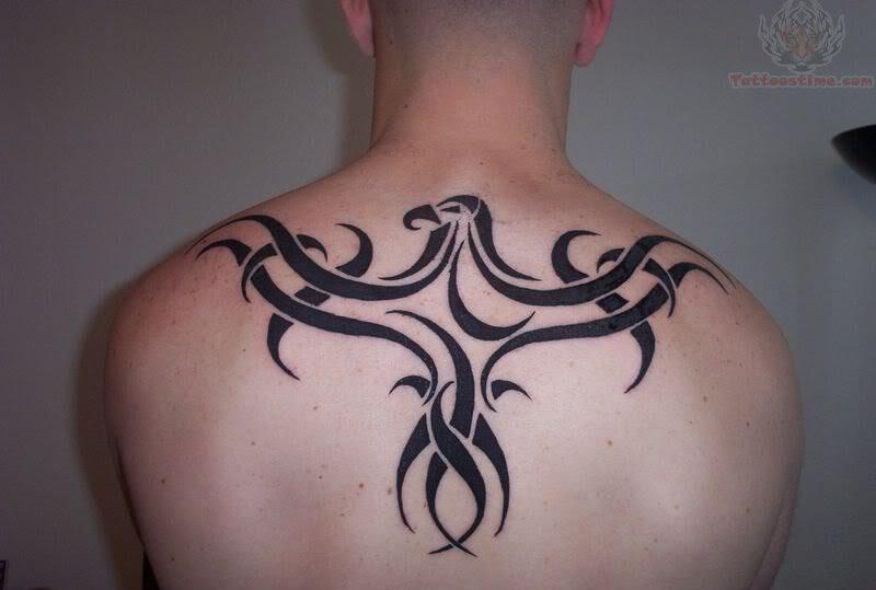 Tribal Raven Tattoo On Men Upperback