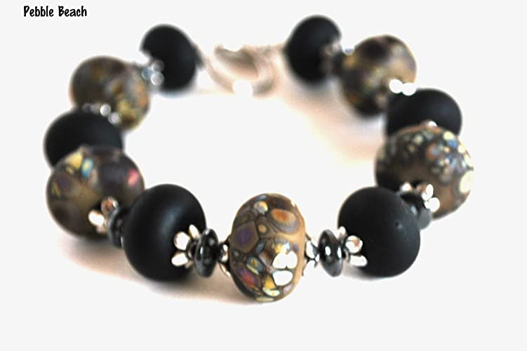 Silvertone Bracelet Brown and Black Lampwork Bead Handmade