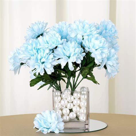 84 Artificial Light Blue Silk Chrysanthemum Flowers