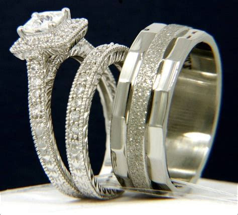 bride and groom wedding ring sets 31   Best Inspiration