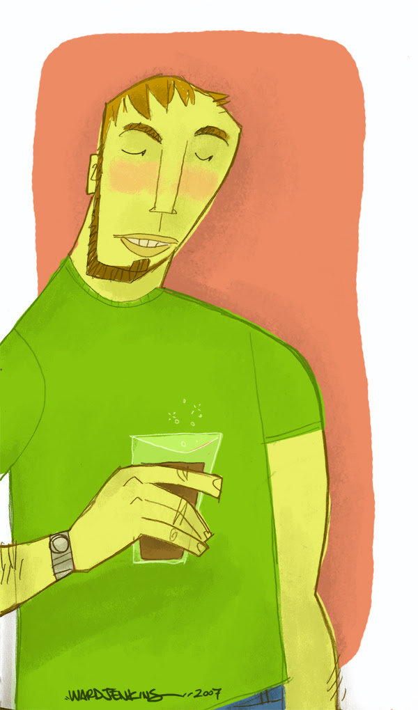 guy with drink in color