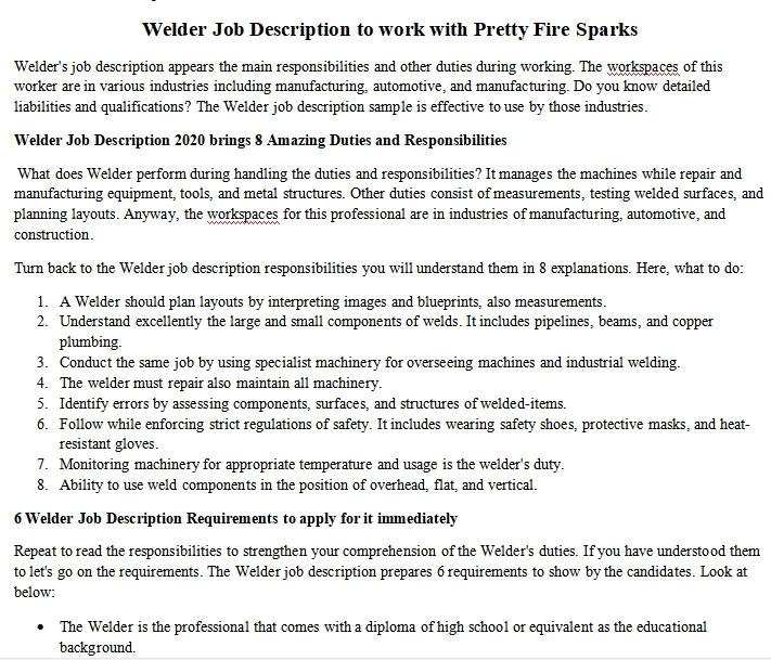 Welder Job Description To Work With Pretty Fire Sparks Room Surf Com