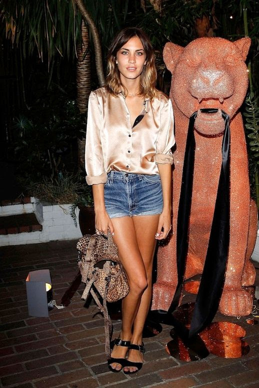 33 Le Fashion Blog 40 Of Alexa Chung Best Looks With Denim Shorts Pink Satin Button Down Mulberry Cheetah Print Bag Jean Cut Offs Sandals Via Metro UK