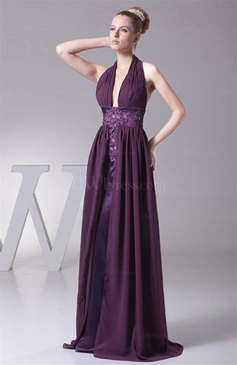 Plum Modern Halter Sleeveless Backless Brush Train Ruching