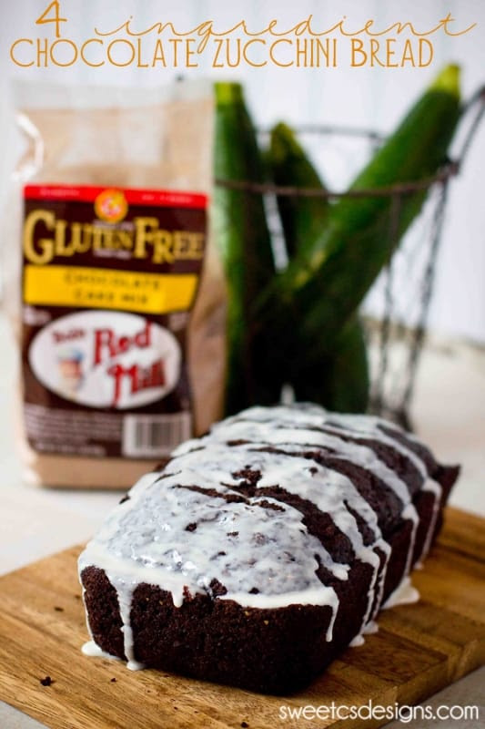 4 Ingredient Chocolate Zucchini Bread made with cake mix