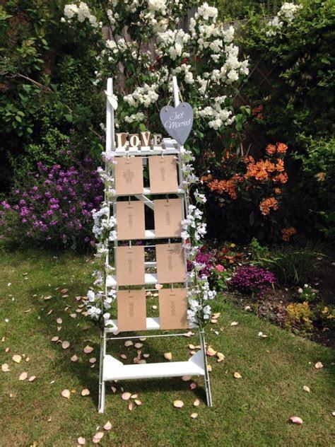 Vintage wedding ladder table plan   wooden steps for your