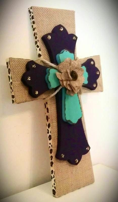 Decorative Burlap Wood Wall Cross by MadeWithLoveByLori on Etsy. I LOVE these!!! @Jenna Nelson Burton .... Make me this!!! Lol