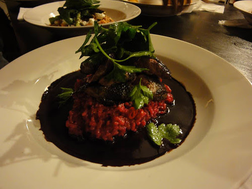 Kangaroo on beetroot & chilli risotto