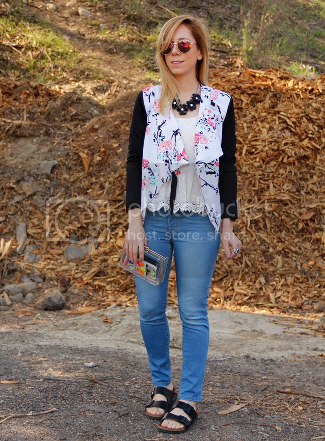 LA fashion blogger The Key To Chic wears an Xhilaration floral moto jacket with Mia and Moss cashmere denim and Birkenstock Arizona sandals