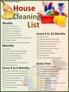 Free MS Word House Cleaning List Template - it