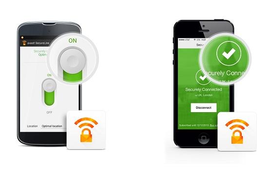Главное окно Avast! SecureLine VPN при работе в Android (слева) и iOS (справа)