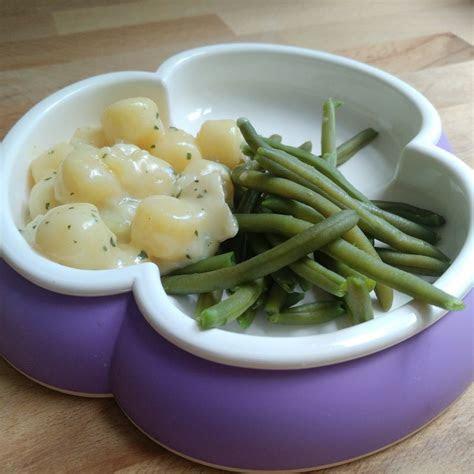 gnocchis mit ziegenkaese sauce und bohnen
