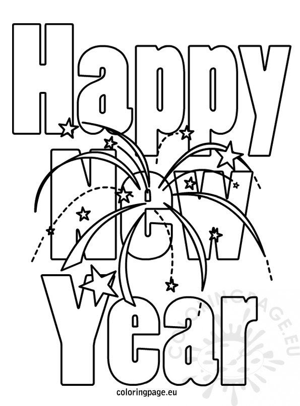 Happy New Year Coloring Pictures - Coloring Page