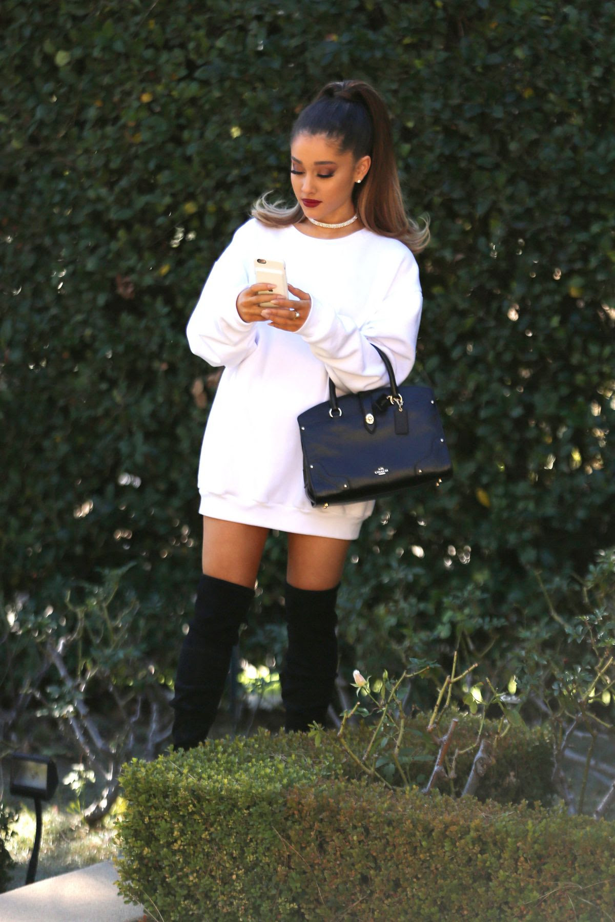 ARIANA GRAND Out and About in Los Angeles 02/16/2016