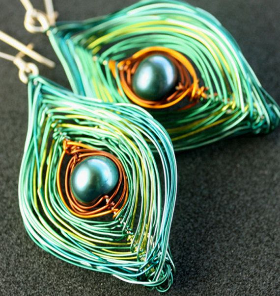 Fairy Peacock Earrings Gold Filled Teal Sea Foam Sky by Woojoo