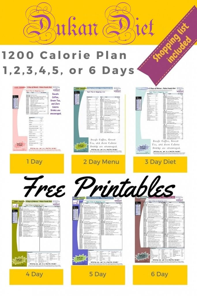 Printable 1200 Calorie Dukan Diet for weight loss with ...