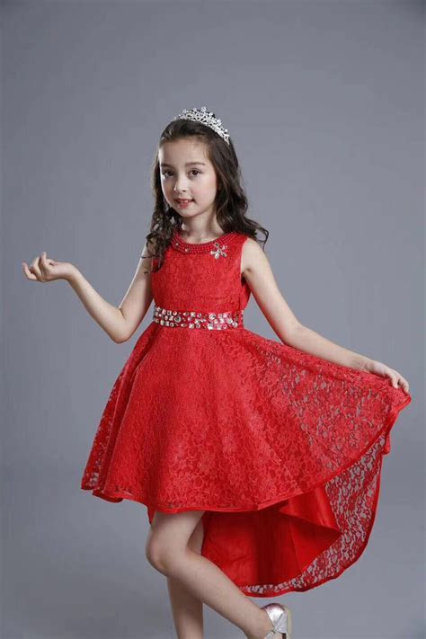 2018 Fashion Kids Party Wear Girl Dress Red Pakistan And