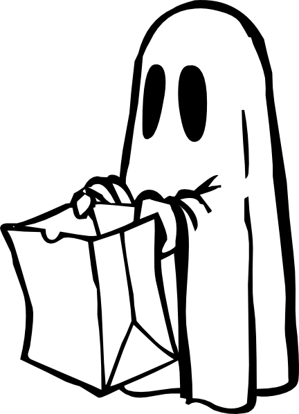 Ghost With Bag Black And White  clip art