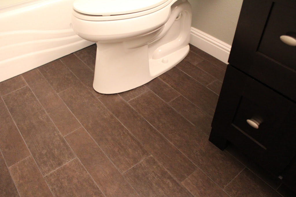 Bathroom With Wood Tile Floor - Home Decorating Ideas