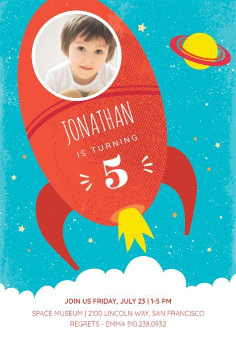 Red Rocket   Birthday Invitation Template (free