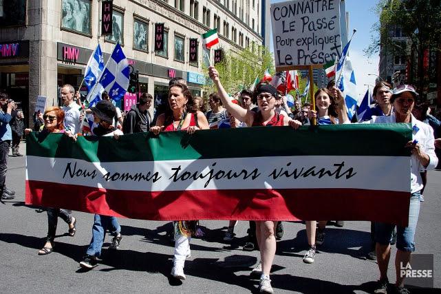 La Marche des Patriotes a rassemblé lundi après-midi des centaines de personnes... (PHOTO SIRA CHAYER, ARCHIVES LA PRESSE)