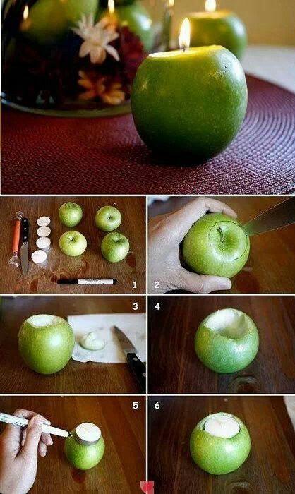 DIY. Tutorial. Portavelas de manzana.