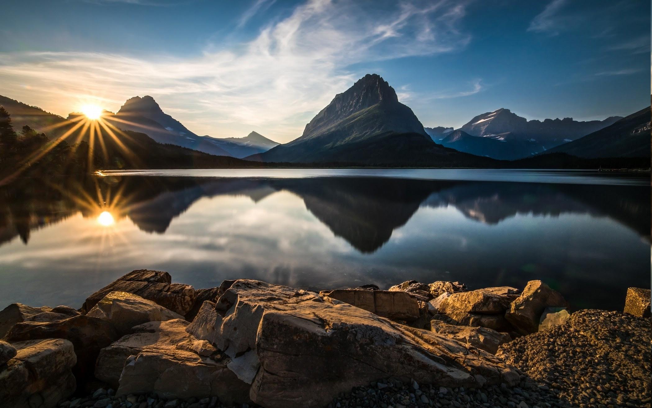 Nature Landscape Glacier National Park Lake Reflection Sunset