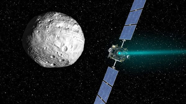A composite image of the Dawn spacecraft departing from asteroid Vesta in September of 2012...beginning its next interplanetary journey to dwarf planet Ceres.