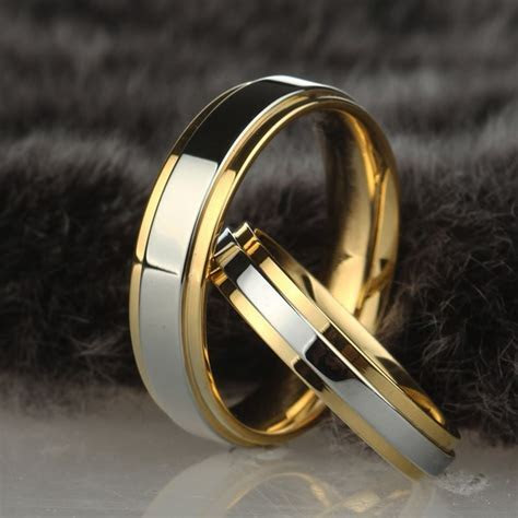 Stainless steel Wedding Ring Silver Gold Color Simple