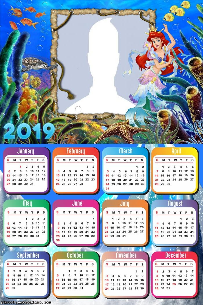 The Little Mermaid Calendar 2019 Photo Frame Collage