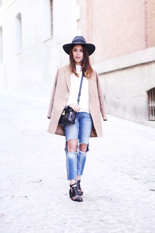 Le Fashion Blog Barcelona Blogger Style Fedora Hat Cat Eye Liner Ombre Hair Camel Coat Jacket White Sweater 3.1 Phillip Lim Mini Pashli Bag Cropped  Ripped Knee Jeans Black Cut Out Boots 2014 2 photo Le-Fashion-Blog-Barcelona-Blogger-Style-Fedora-Hat-Ripped-Knee-Jeans-Cut-Out-Boots-2014-2.jpg