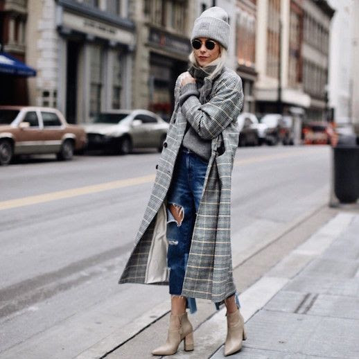 Le Fashion Blog Grey Beanie Grey Turtleneck Sweater Mens Houndstooth Coat Distressed Jeans Nude Boots Via Happily Grey