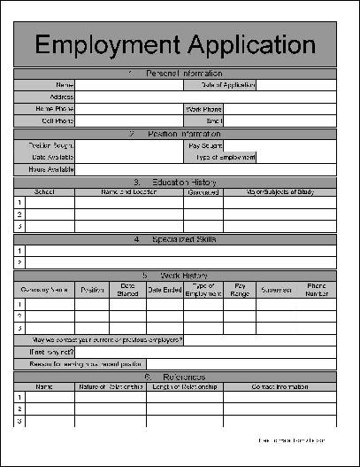 Free Wide Numbered Row Job Application from Formville