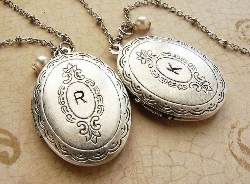 Initial oval locket necklace Personalized initial silver locket necklace Bridesmaid locket necklace