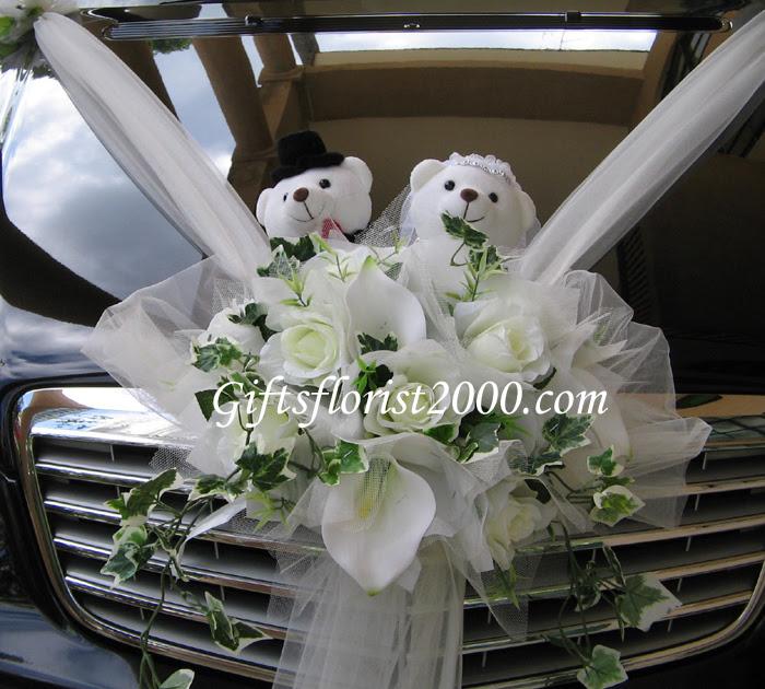 Silk Flowers Car Decor Wedding Car Decoration Wedding Bear Car Decor