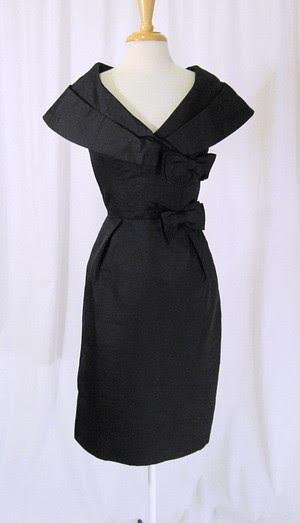 Black Silk Cocktail Party Dress Vintage 50s Shawl Collar H
