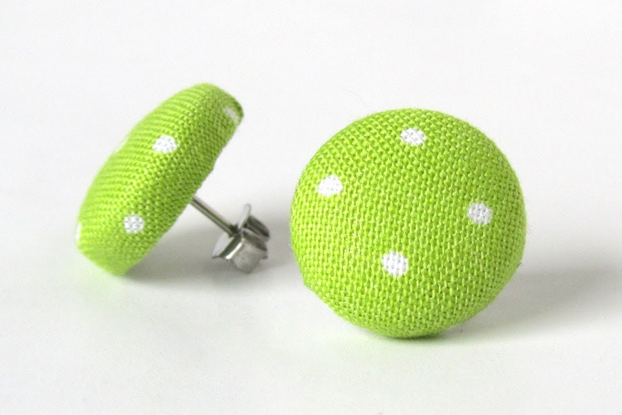 Lime green stud earrings polka dots summer bright white pin up - KooKooCraft